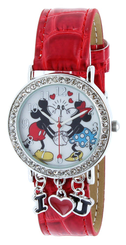 Disney Mickey & Minnie holding Hand & Kissing I Love You With Red Band Watch - MCKAQ1268