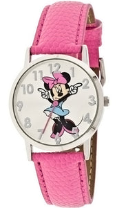 Disney Women's Minnie Mouse Molded-Hands Pink Watch, Genuine-Leather Strap - MIN004