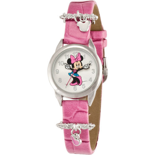 Disney Girl's Minnie Mouse Pink Heart Charm Watch, Simulated-Leather Strap