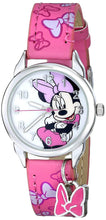 Load image into Gallery viewer, Disney Kids' MIN188 Easy Read Silver-Tone Watch with Pink Faux Leather Band