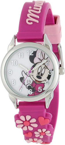 Disney Kids' MIN189 Silver-Tone Minnie Mouse Watch with Pink Band
