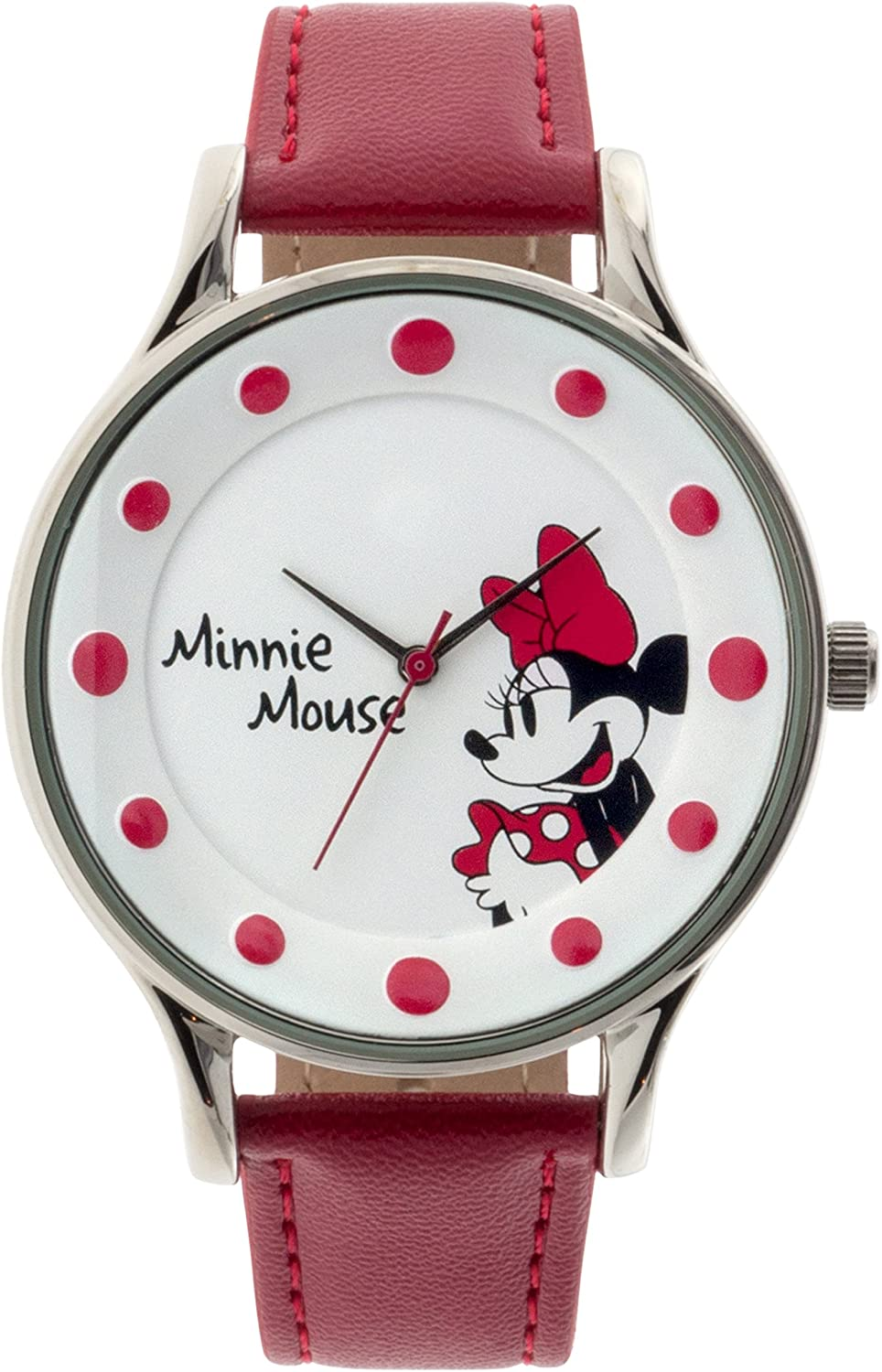 Disney Women's Minnie Mouse Analog Display Red Watch MINAQ16063