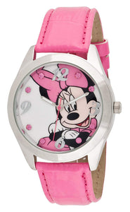 Disney Women's Minnie Mouse Pink Leather Band Watch - MINAQ256