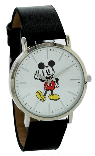Disney Mickey Mouse Watch watch Silver Case Black Band MK1521