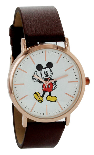 Disney Mickey Mouse Watch Rose Gold Tone Case & Brown Strap  MK1523GG