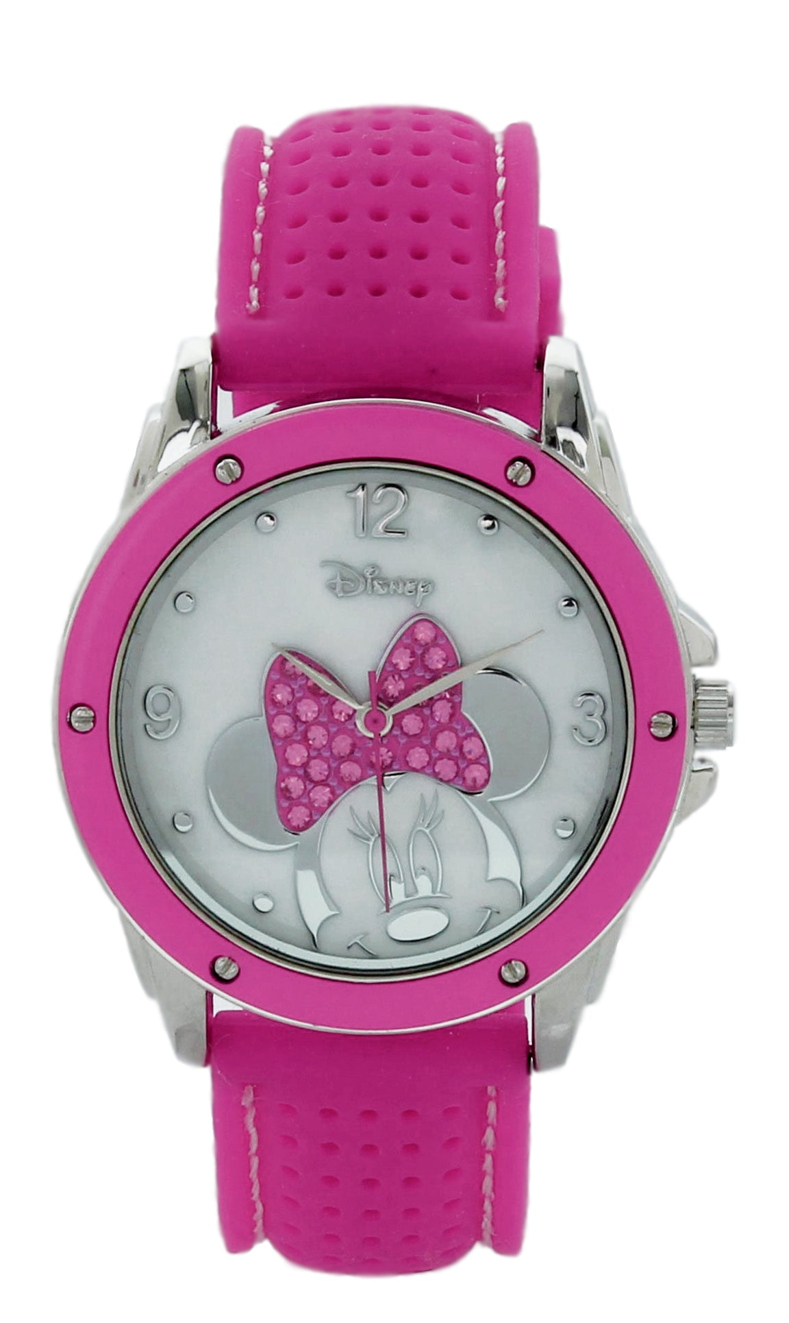 Disney Women's Minnie Mouse Watch w/ MOP Dial & Hot Pink Strap - MN1227EE