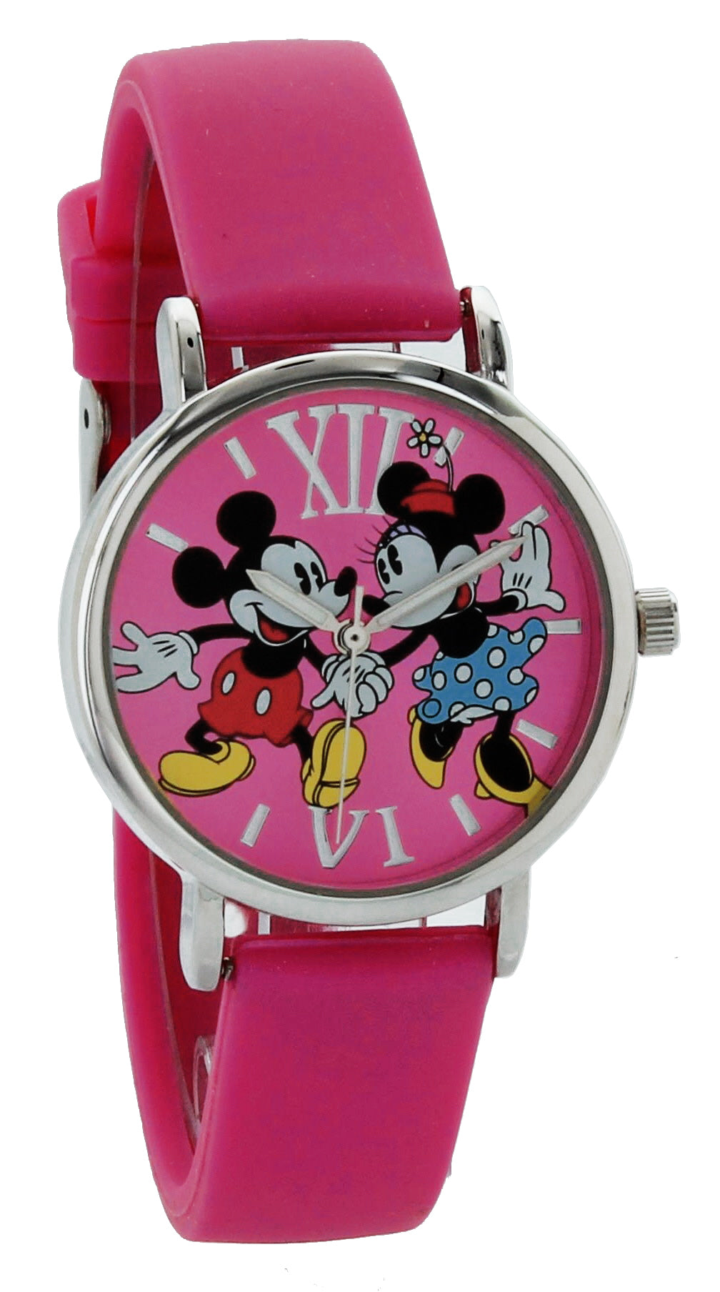 Disney Women's Mini & Mickey Mouse  Dancing Watch W/ Dark Pink Dial & Strap - MN1419DD