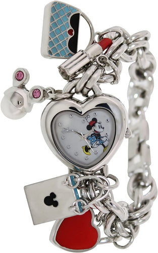 Disney Women's MN2019 Silver Metal Quartz Watch with Mother-of-Pearl Dial