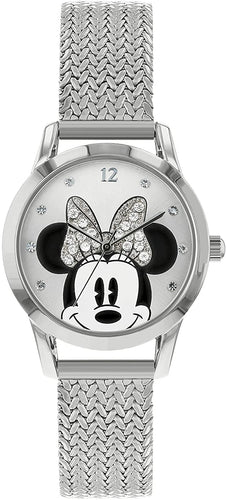 Disney Women's Round Case Quartz Watch with Stainless Steel Mesh Strap, Silver Color (MN8008)