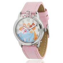 Load image into Gallery viewer, Disney Princess Women's Round Imitation Silver and Pink Watch, Leather Strap