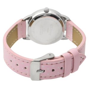 Disney Princess Women's Round Imitation Silver and Pink Watch, Leather Strap