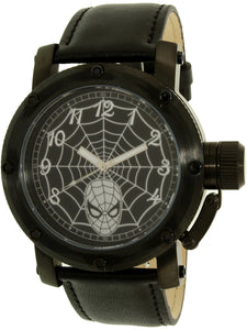Disney Men's Spider-Man Black Leather Quartz Fashion Watch - SPM149