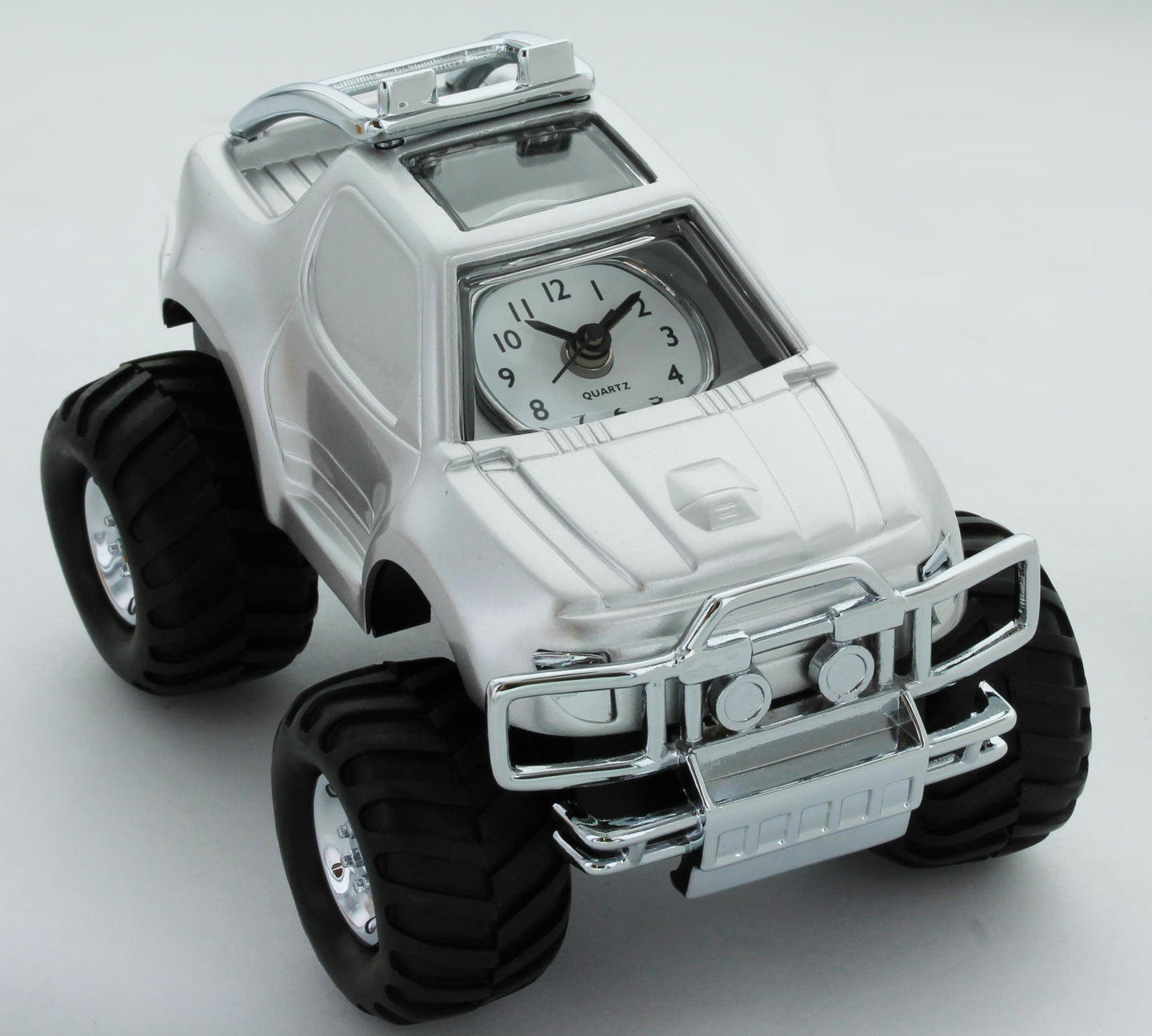 Miniature Classic suv Car Analogue Silver tone Novelty Alarm Clock Collectible AH6032