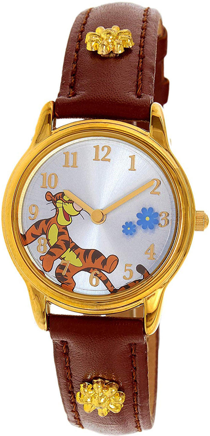 Disney Winnie The Pooh Tiger Girl's Gold Leather Quartz Fashion Watch - WTP045