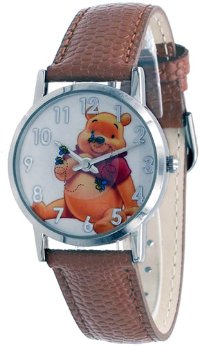 Disney WTP102 Women's Silver Tone Floating Bees Brown Winnie The Pooh Leather Band Watch