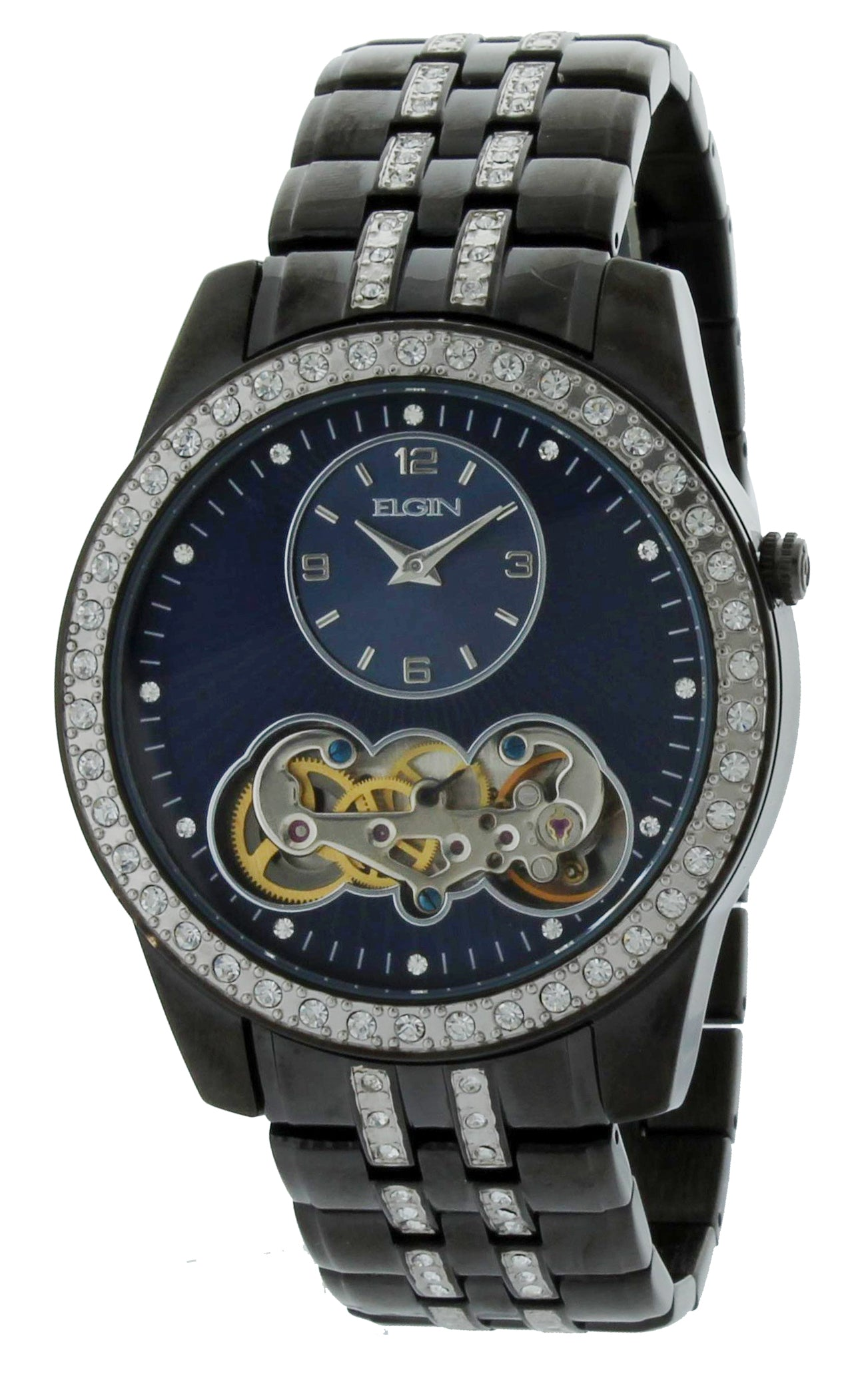 Elgin Mens Crystal Accented Semi Automatic