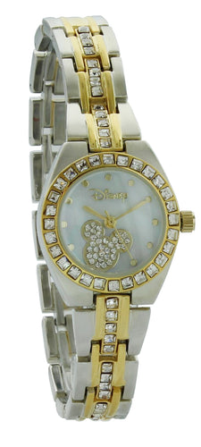 Disney Mickey Mouse Women's MK2042 MOP Dial Two-Tone Rhinestone Bracelet Watch