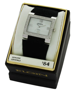 Elgin Women's Stone Case White Dial with Black suede Strap - EG275ST-2