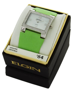 Elgin Women's Stone Case White Dial with Lime Green Leather Strap - EG275ST-3