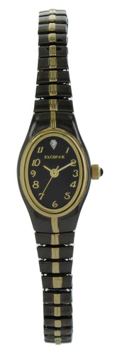 Elgin Ladies two tone black Quartz Watch stretch band ELL07 Nib