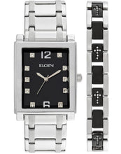Load image into Gallery viewer, ELGIN Men's Crystal Accent Silver-Tone and Black Watch and Cross Bracelet Set - FG9060ST-L61