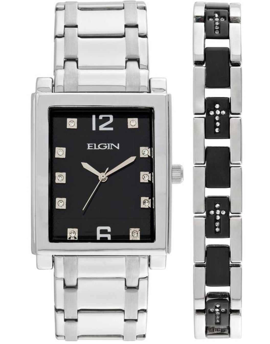 ELGIN Men's Crystal Accent Silver-Tone and Black Watch and Cross Bracelet Set - FG9060ST-L61