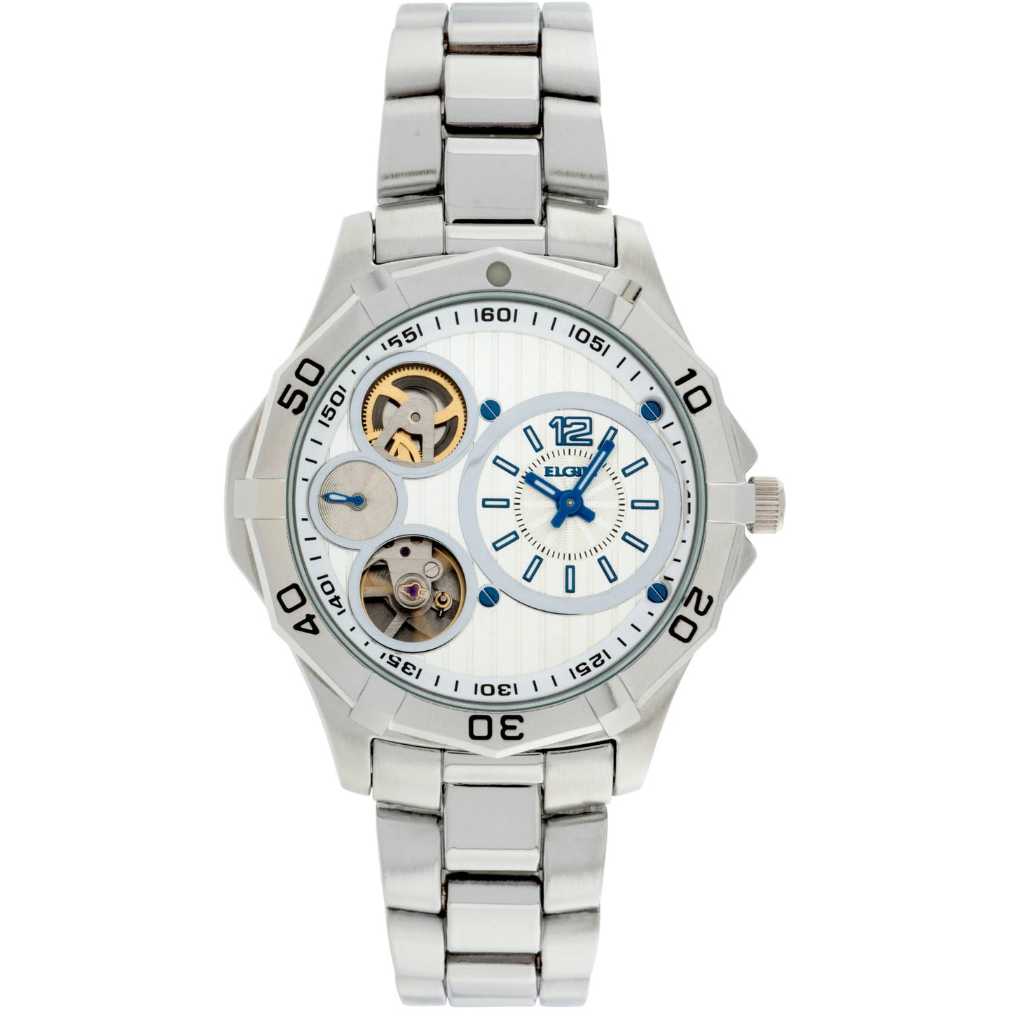 Elgin Men's Silver-Tone Round Case White and Silver Dial Semi Automatic Bracelet Watch - FG9731L61