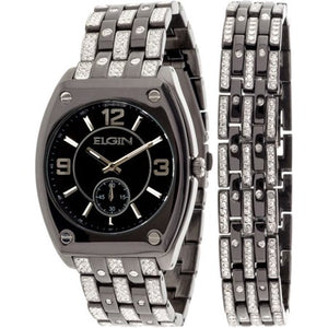 ELGIN Men's Crystal Accented Ionic Watch and Matching Bracelet, Black - FG9752