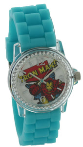 Marvel Comics Avengers Iron Man Watch blue Silicone Band clear case With Stone MVCAQ16025