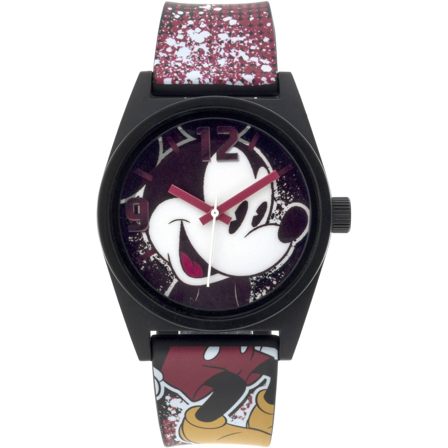 Disney Mickey Mouse Black Case Character-Printed Dial Analog Watch, Printed Art Strap