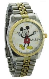 Disney Jumbo Mickey Mouse Men's 'Moving Hands' Gold & Silver Bracelet Watch - MCK990