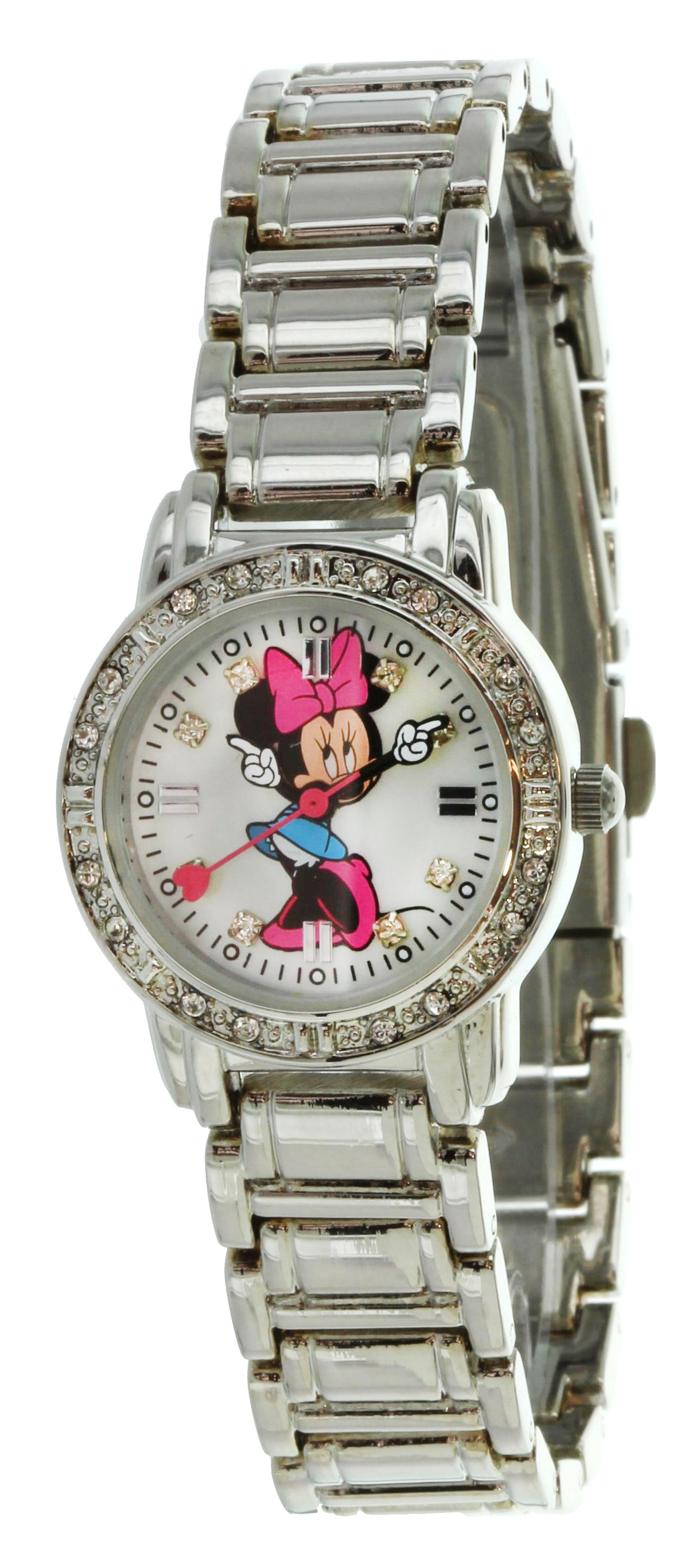 Women's Minnie Mouse Silver Color White Dial Bracelet Watch MIN2012