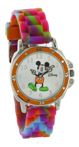 Disney Kids' MK1191 Mickey Mouse Silver-Tone Watch with Tie-Dye Rubber