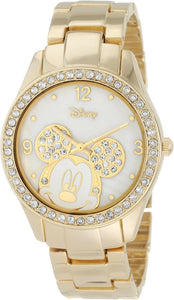 Disney Women's Mickey Mouse Rhinestone Accent Gold Tone Bracelet Watch  MK2127