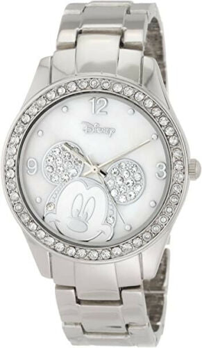 Disney Women's Mickey Mouse Rhinestone Accent Silver Tone Bracelet Watch MK2128
