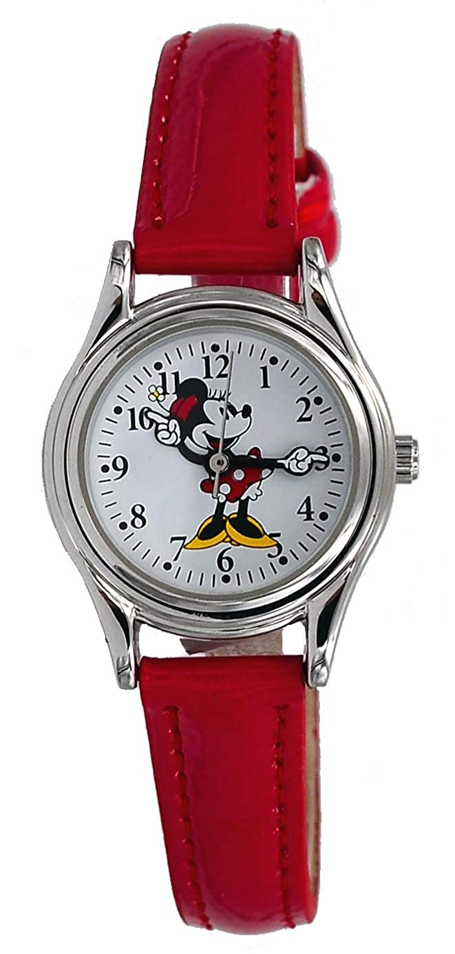 Disney Women's Classic Silver Tone Red Strap Minnie Mouse Hands Analog Watch  MN1289