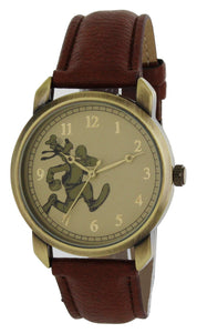 Disney Vintage Style Goofy Gold Tone Case Brown Strap Gold Hands Quartz Watch - GY5002