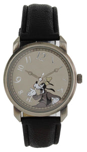 Disney Vintage Style Crazy Numbers Goofy gun color Case Black Strap Watch - GY5003