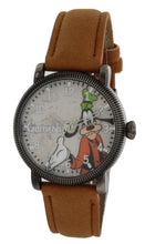 Load image into Gallery viewer, Disney Vintage Style Goofy Gun collor Case Light Brown Strap Silver Hands Quartz Watch - GY5000