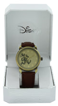 Load image into Gallery viewer, Disney Vintage Style Goofy Gold Tone Case Brown Strap Gold Hands Quartz Watch - GY5002