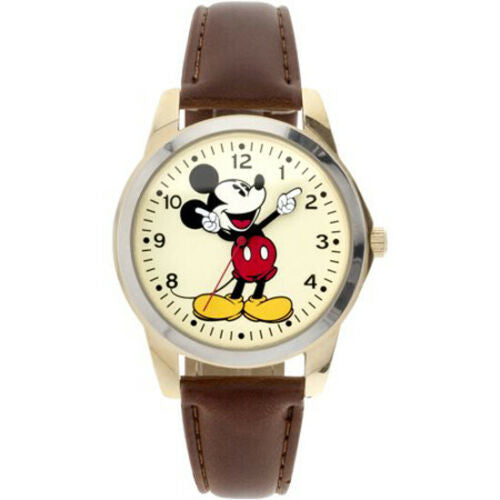 New Disney Classic Mickey Mouse Pointing Hands Brown Strap Watch