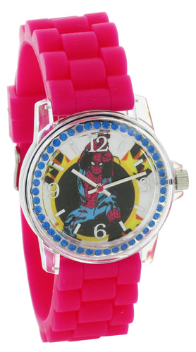 Marvel Comics Avengers spider Man Watch pink Silicone Band clear case With Stone MVCAQ16045