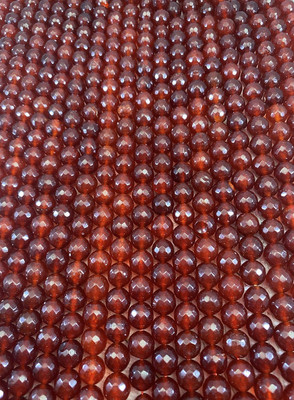 12mm Faceted Jade- Dark Carnelian Colored - FSJ Beading Supplies