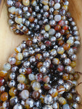12mm Half Silver Plated Faceted Agate Beads - Goldish Brown Agate - FSJ Beading Supplies