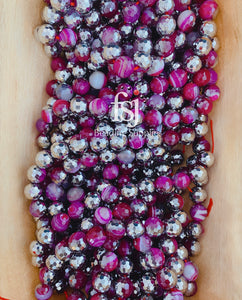 12mm Half Silver Plated Faceted Agate Beads - Fucshia - FSJ Beading Supplies
