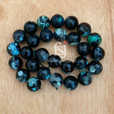 14mm Faceted Fire Agate Green/Black - FSJ Beading Supplies