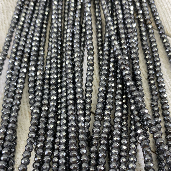 2x3mm Faceted Hematite Spacers- Gunmetal - FSJ Beading Supplies