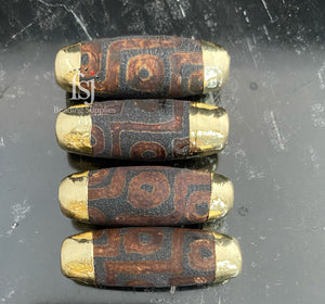Black/Brown Gold Foil Tip Tibetan Bead - FSJ Beading Supplies