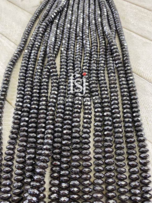 3x6mm Faceted Hematite Spacers- Gunmetal - FSJ Beading Supplies