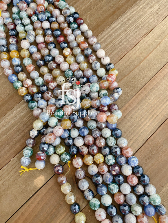 12mm Faceted Multi Colored Electroplated Agate - FSJ Beading Supplies